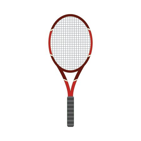 Vector tennis racquet icon. Game equipment. Professional sport, classic racket for official competitions and tournaments. Isolated illustration