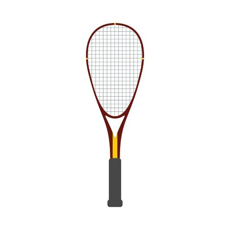 Vector squash racquet icon. Ground game equipment. Professional sport, classic tennis racket for official competitions and tournaments. Isolated illustration