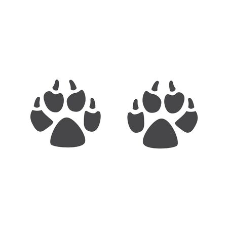 Black silhouette of paws and prints of footprints of a predatory wolf or wild dog, vector illustration. Standard-Bild - 127276925