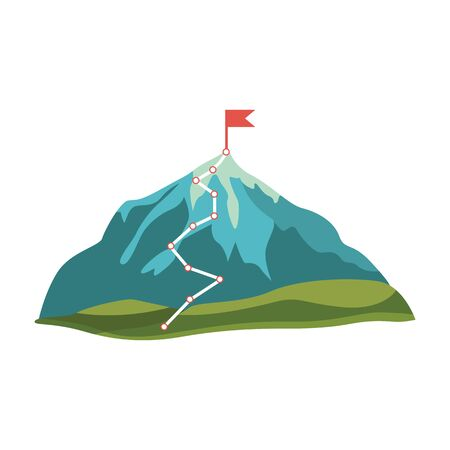 Grey, blue cartoon mountain and rock with green hills and red flag on peak, vector isolated illustration on white background. Mountain with route and path to the top