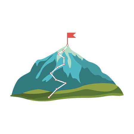 Grijze, blauwe cartoon berg en rots met groene heuvels en rode vlag op piek, geïsoleerde vectorillustratie op witte achtergrond. Berg met route en pad naar de top Vector Illustratie