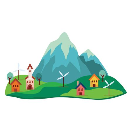 Grey, blue cartoon mountain and rock with green hills. Vector isolated illustration on white background. Mountain with cute colorful houses, trees and windmills at the foot of the rock.