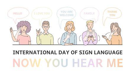 Cartel del día internacional del vector del lenguaje de señas con personas sordomudas comunicándose. hombres y mujeres jóvenes que hablan un idioma a mano. Gesto comunicando personajes con discapacidad.