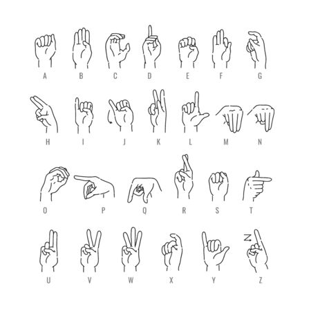 Deaf english alphabet in line art isolated on white background - vector illustration of hand font of american sign language. Educational collection of fingerspelling - ASL letter gestures.