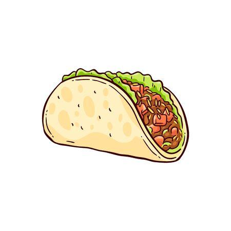 Tacos dibujados a mano, comida tradicional mexicana en una tortilla con queso, carne y verduras. Ilustración de vector sobre fondo blanco en estilo boceto. Ilustración de vector