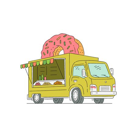 Street fast food truck with donut and sweets. Mobile fastfood donut shop vehicle, van and truck. Sketch vector illustration isolated on white background.