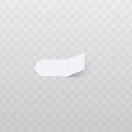 Oblong white sticker with round edge and rectangular bent edge realistic style, vector illustration isolated on transparent background. Blank adhesive flag for labeling information or page marker