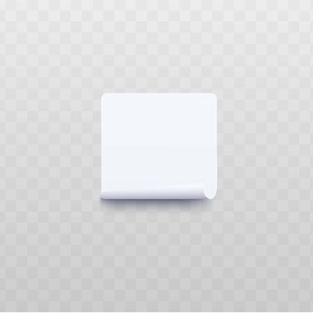 White square sticker with rolled or twisted edge realistic style, vector illustration isolated on transparent background. Blank sheet of adhesive notes paper with wrapped up edge Vektorgrafik