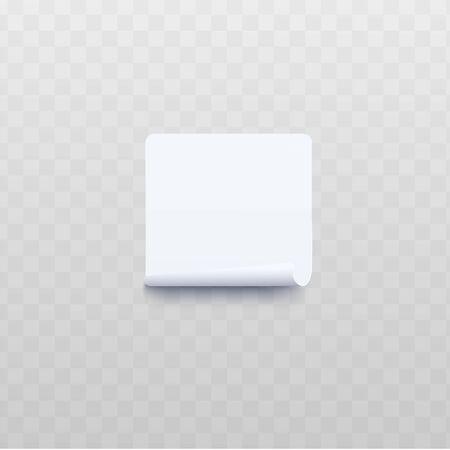 Witte vierkante sticker met opgerolde of gedraaide rand realistische stijl, vectorillustratie geïsoleerd op transparante achtergrond. Blanco vel zelfklevend notitiepapier met ingepakte rand Vector Illustratie