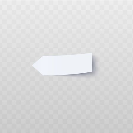 Oblong white arrow-shaped sticker with peeled edge realistic style, vector illustration isolated on a transparent background. Blank adhesive arrow flag for labeling information or page marker