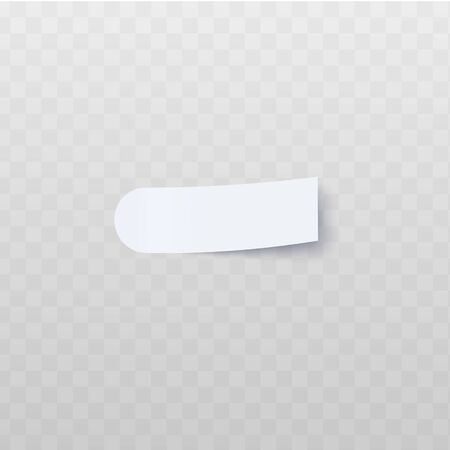 Oblong white sticker with round and peeling off rectangular edge realistic style, vector illustration isolated on transparent background. Blank adhesive flag for labeling info or page marker