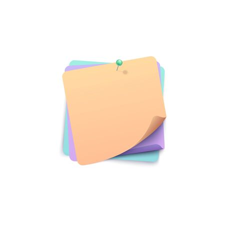 Three color stickers with rolled corners tacked together by pin realistic style, vector illustration isolated on white background. Square adhesive paper notes with wrapped edge pinned to each other