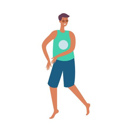 Young tanned brunet man in tshirt, shorts and sunglasses is smiling and dancing at a beach party. A man on a beach holiday or party is dancing. Isolated vector flat cartoon illustration.
