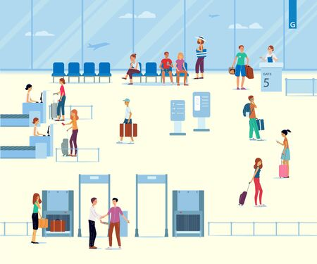 Terminal del aeropuerto con turistas. Infografía de salida del aeropuerto, los pasajeros y los turistas viajan, las personas esperan embarcar en el avión. Vector ilustración plana.