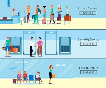 Un conjunto de pancartas con check in en el aeropuerto, servicio de seguridad y sala de espera. Terminal del aeropuerto con turistas de salida y pasajeros que viajan, ilustración plana vectorial.