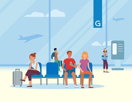 Warteraum am Flughafen mit reisenden Passagieren und Touristen mit Gepäck, die auf den Abflug warten, Vektorgrafik.