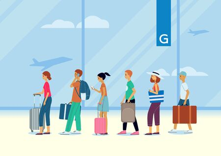 A queue of people, traveling passengers and tourists at the airport with luggage, waiting for check-in or departure to the gate. Vector flat illustration.
