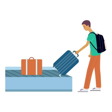 Brunet tourist man picks up his suitcase on wheels from the luggage tape at the airport. Male tourist with a backpack, in pants and a tshirt is traveling. Isolated vector flat illustration.