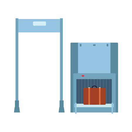 Baggage inspection, check and control luggage before boarding. Baggage checkpoint of security service at airport with metal detector frame and xray scanner of luggage belt, vector illustration.