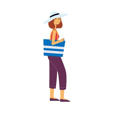 A woman or a girl tourist in a hat with a bag goes on a trip. Attractive brown haired female tourist in pants and t shirt is traveling with luggage. Airport flat vector illustration.
