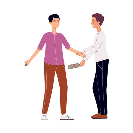 An airport security officer checks a tourist brunet man with a metal detector. The passenger passes the security checkpoint at an airport, isolated vector illustration. Stock Illustratie