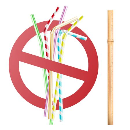 Stop sign, prohibition of disposable plastic straws. Replacing plastic tubing with reusable wooden and bamboo eco straws for beverages. Realistic 3d vector illustration on white background. Ilustrace