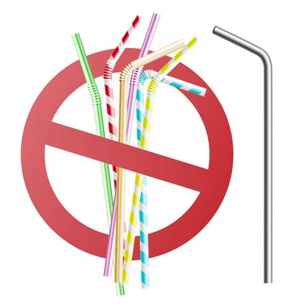 Replacing plastic straws with reusable metal and steel bio tubing for drinking. Stop sign, ban of disposable plastic tubes, 3d realistic vector illustration.