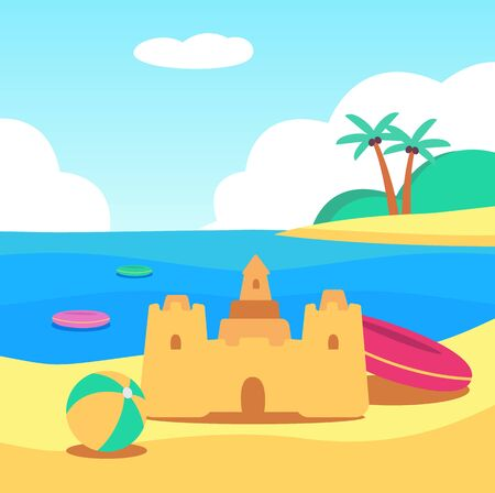 A sand castle stands on the beach by the summer sea next to children's toys, an inflatable ball and a lifebuoy. Beach summer concept for children with a sand castle, vector flat cartoon illustration. Standard-Bild - 127276939