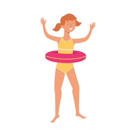 A girl jumping and smiling in a swimsuit and inflatable lifebuoy. Beach summer vacation concept for children, vector flat cartoon isolated illustration.