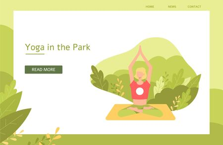 Blonde girl meditates in the lotus position on the background of leaves and nature in the park, flat vector yoga illustration. Banner and poster for yoga promotion, meditation in the park with text. Illusztráció