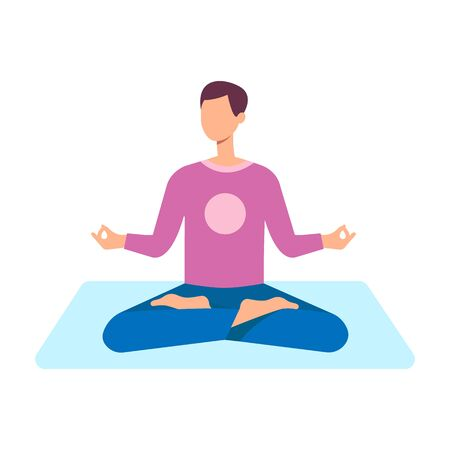 A young brunette man meditates in the lotus position on a yoga mat with crossed legs, vector flat illustration.