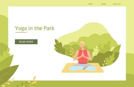 Banner, poster design concept for yoga promotion and meditation in the park with text. A blond man meditates in the lotus pose on the background of leaves and nature, flat yoga vector illustration.