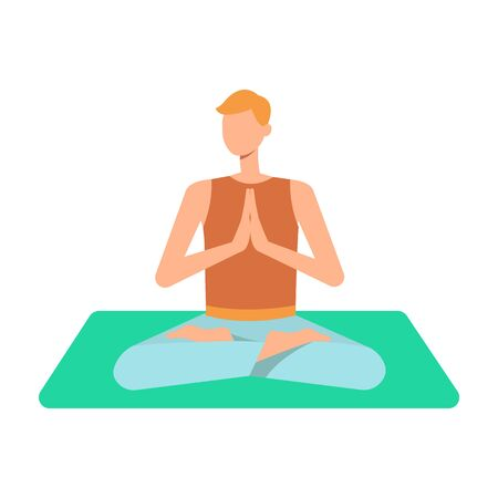 A young caucasian man blond meditates in the lotus position on a yoga mat. Promotion of yoga and meditation classes, vector flat illustration. Stock fotó - 128171937