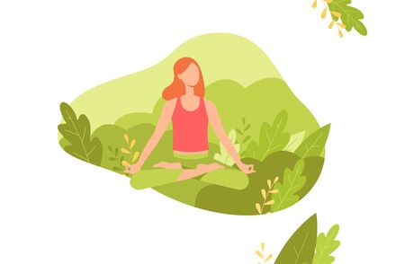 Red haired woman meditates in the lotus position with legs crossed on background of green plants and nature, flora. The concept of meditation and yoga for banners, posters, vector flat illustration. Illusztráció