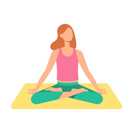 A young brown haired woman or girl sits in a lotus position on a yoga mat with legs crossed and meditates. Concept of meditation and yoga, vector flat illustration.