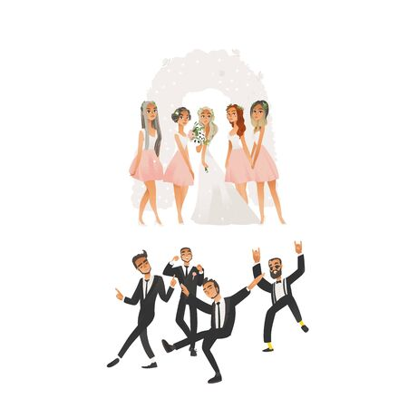 Happy wedding ceremony at the ceremonial arch in flat cartoon style. Young bride with bridesmaids, joyful groom with dancing groomsmen, best man. Wedding set of isolated vector illustratioun.