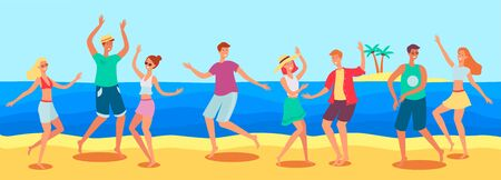 Tanned caucasian people, men and women dancing at a beach party by the sea on the sand. Young men and women on vacation dancing on the summer beach by the sea, vector flat cartoon illustration.