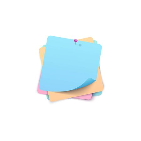 Square blank paper stack of pinned stickers template with bent edge vector illustration isolated on white background. Empty label or note tag square shape 3d realistic icon.