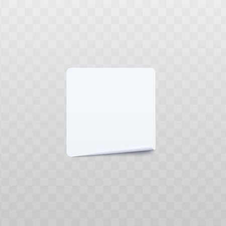 Blank white square adhesive stickers mock up with curved corner 3d realistic vector illustration isolated on transparent background. Sicky label or note paper template.