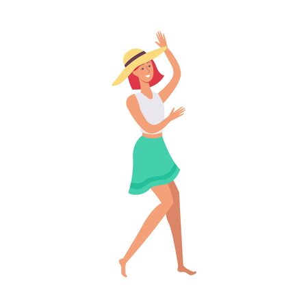 Young beautiful redhead girl in hat, skirt and t-shirt dances at summer beach party, isolated vector flat cartoon illustration.