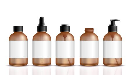 Set of 3d brown bottles for cosmetic or medical product realistic style, vector illustration isolated on white background. Mockup of vial packagings with blank label and cap and dispenser and dropper