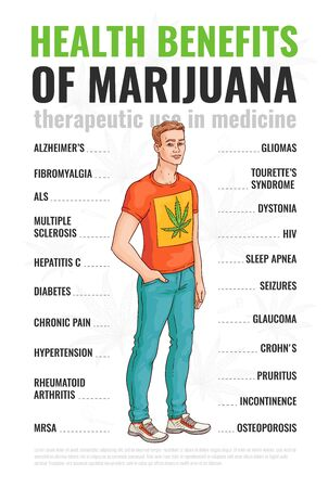 Healthy benefits of using marijuana and cannabis. Infographics of therapeutic use of cannabis, a man shows the treatment of marijuana. Hand drawn vector sketch infographics and illustration.