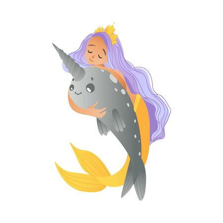 A young mermaid, a girl with purple hair, a golden tail and a crown sits astride a cute narwhal in a cartoon style. Isolated vector illustration of narwhals on white background. Foto de archivo - 128171955