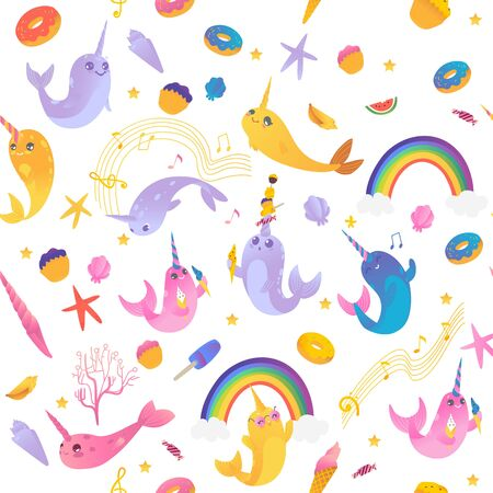 Seamless pattern of cute cartoon narwhals with rainbow, ice creams, sweets and seashell. Pattern of cute sea unicorns, cartoon animals. Seamless isolated vector illustration of narwhals.