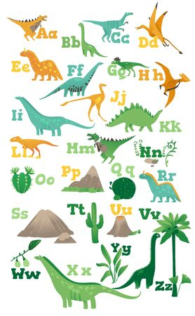 Alphabet for children with cute cartoon dinosaurs, ancient volcanoes, mountains and plants in a flat style. Isolated vector illustration on white background. Illustration
