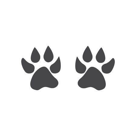 Footprints of a dog, dog or cat footprints, traces of a predator. Black silhouette of paw of domestic or wild animal, pet. Stock Illustratie