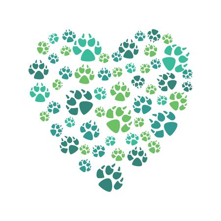 Heart symbol from color prints of a dogs paw, domestic or wild animal in a flat style. Isolated vector illustration on white background.
