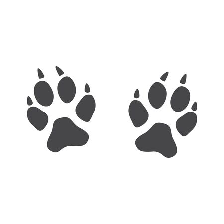 An imprint of the paws of a fox, cat or wild animal with claws. Illustration