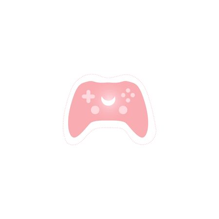 Modern wireless pink controller for play stations flat vector illustration isolated on white background. Video games console joystick icon for apps and web. Illusztráció