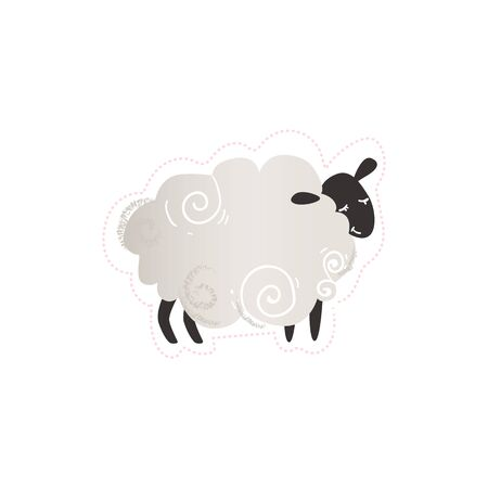 Cute trendy and fashion sticker black and white sheep or lamb, farm animal. Funny sheep icon. Isolated flat hand drawn vector illustration. 일러스트